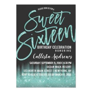 Small Modern Black Aqua Glitter Typography Sweet 16 Invitation Front View