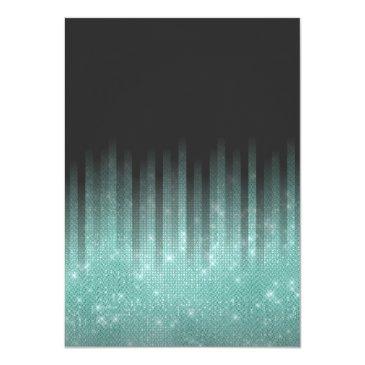 Small Modern Black Aqua Glitter Typography Sweet 16 Invitation Back View