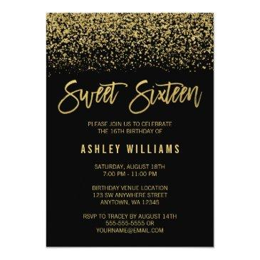 Small Modern Black Faux Gold Glitter Sweet 16 Birthday Front View