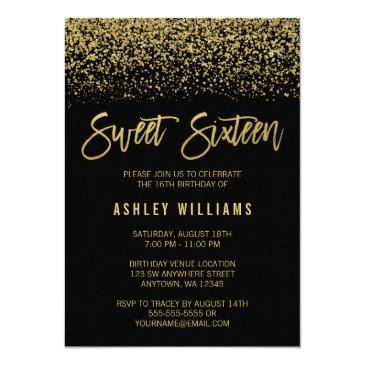 modern black faux gold glitter sweet 16 birthday invitations