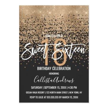 Small Modern Black Gold Glitter Confetti Sweet 16 Invitation Front View