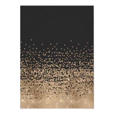 Small Modern Black Gold Glitter Confetti Sweet 16 Invitation Back View