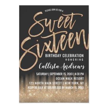 modern black gold glitter typography sweet 16 invitation