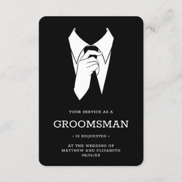 modern black tuxedo groomsman request invitation
