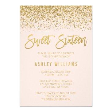 modern blush pink gold glitter sweet 16 invitations