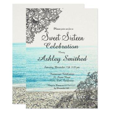 modern boho floral beach photography sweet 16 invitation