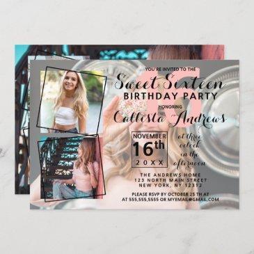 modern cool photo collage sweet 16 birthday invitation