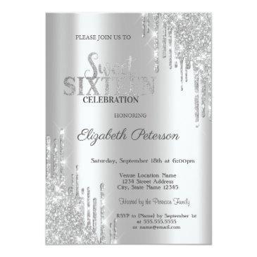 Small Modern Elegant Silver Glitter Drips Sweet 16 Invitation Front View