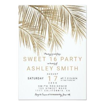 Small Modern Faux Gold Palm Tree Elegant Sweet 16 Invitations Front View