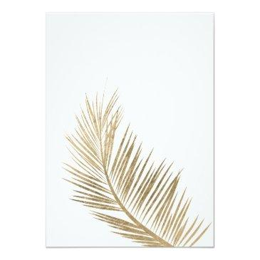 Small Modern Faux Gold Palm Tree Elegant Sweet 16 Invitations Back View