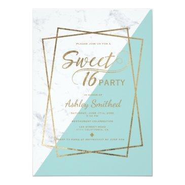 Small Modern Faux Gold Typography Marble Teal Sweet 16 Invitation Front View