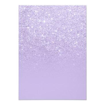 Small Modern Faux Lavender Purple Glitter Ombre Sweet 16 Invitations Back View