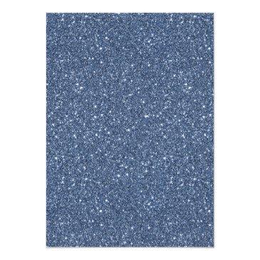 Small Modern Faux Navy Blue Glitter Sweet 16 Birthday Invitation Back View
