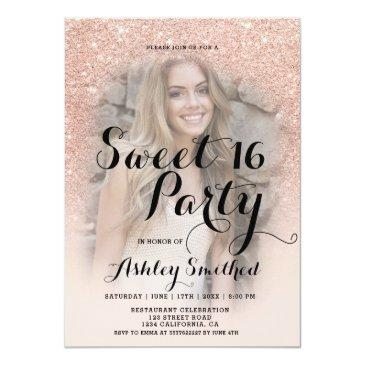 Small Modern Faux Rose Gold Glitter Ombre Photo Sweet 16 Invitations Front View
