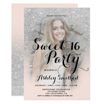 modern faux silver glitter blush photo sweet 16