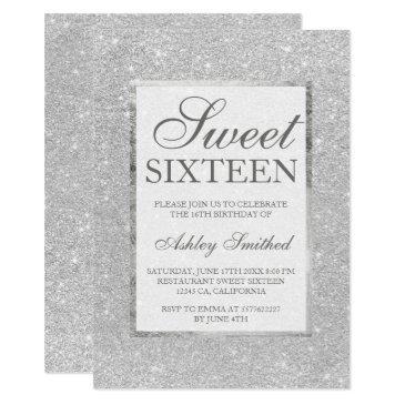 modern faux silver glitter elegant chic sweet 16