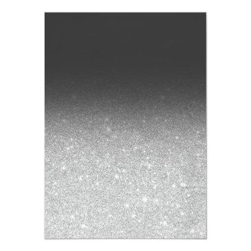 Small Modern Faux Silver Glitter Ombre Photo Sweet 16 Invitations Back View