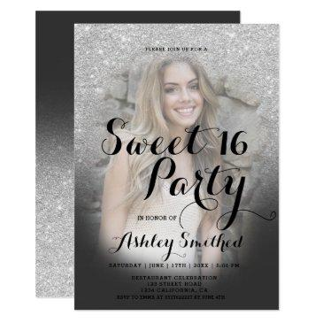 modern faux silver glitter ombre photo sweet 16