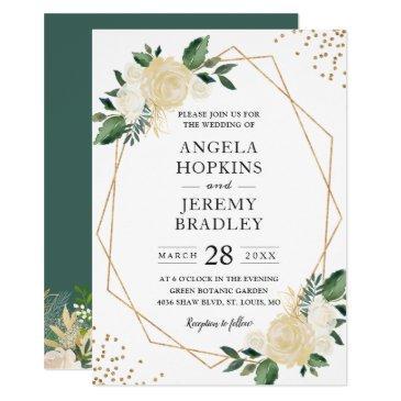modern geometric frame nature green floral wedding