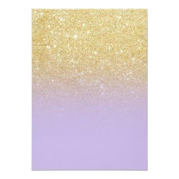 Small Modern Girly Faux Gold Glitter Lavender Sweet 16 Invitations Back View