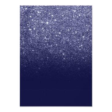 Small Modern Girly Faux Navy Blue Glitter Ombre Sweet 16 Invitations Back View