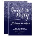 modern girly faux navy blue glitter ombre sweet 16 invitation