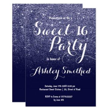modern girly faux navy blue glitter ombre sweet 16