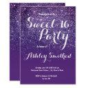 modern girly faux purple glitter ombre sweet 16 invitation