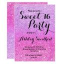 modern girly pink purple glitter ombre sweet 16 invitation