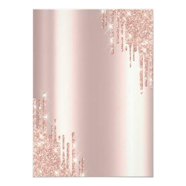Small Modern Glitter Drips Rose Gold Sweet 16 Invitation Back View