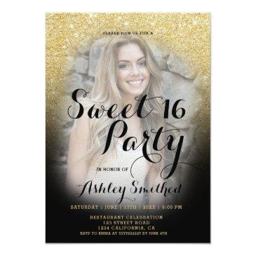 Small Modern Gold Glitter Black Ombre Photo Sweet 16 Invitations Front View