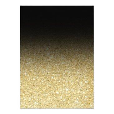 Small Modern Gold Glitter Black Ombre Photo Sweet 16 Invitations Back View