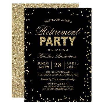 modern gold glitter sparkles retirement party invitations