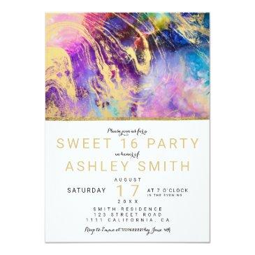 Small Modern Gold Marble Nebula Elegant Sweet 16 Invitations Front View