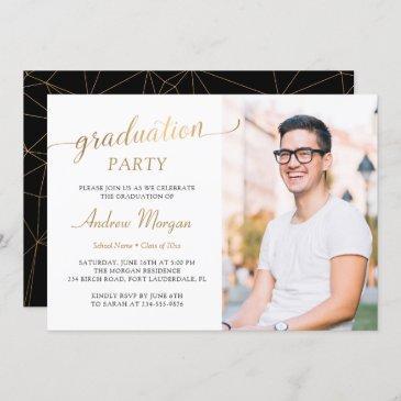 modern gold script black & white graduation photo invitation