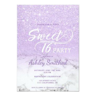 Small Modern Lavender Glitter Ombre Marble Sweet 16 Invitation Front View