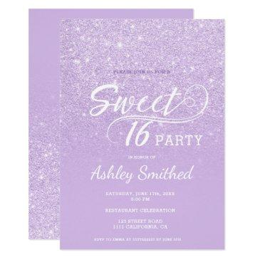 modern lavender glitter ombre purple sweet 16 invitations
