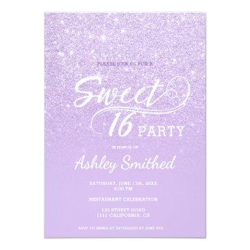 Small Modern Lavender Glitter Ombre Purple Sweet 16 Invitation Front View