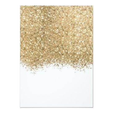 Small Modern Luxury Gold White Glitter Confetti Sweet 16 Invitation Back View