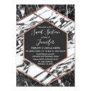 modern marble rose gold trim hexagon sweet 16 invitations