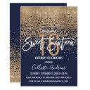 modern navy blue gold glitter confetti sweet 16 invitation