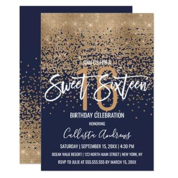 modern navy blue gold glitter confetti sweet 16 invitation