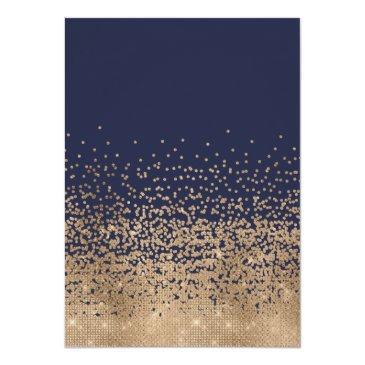 Small Modern Navy Blue Gold Glitter Confetti Sweet 16 Invitation Back View