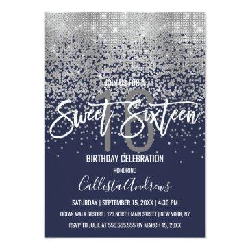 Small Modern Navy Blue Silver Glitter Confetti Sweet 16 Invitation Front View