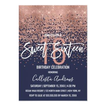 Small Modern Navy Rose Gold Glitter Confetti Sweet 16 Invitation Front View