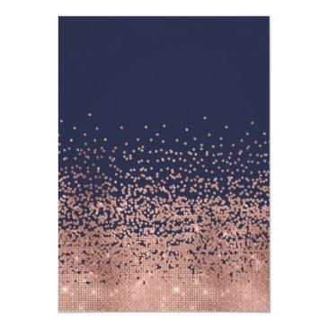 Small Modern Navy Rose Gold Glitter Confetti Sweet 16 Invitation Back View