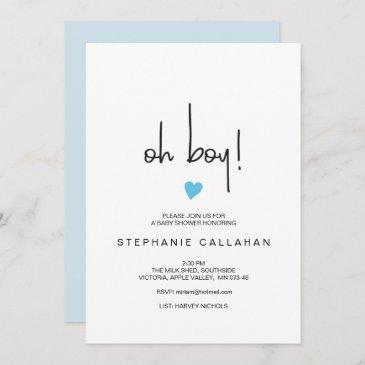 modern oh boy baby shower invitation | blue heart