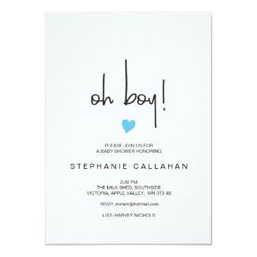 Small Modern Oh Boy Baby Shower Invitation | Blue Heart Front View