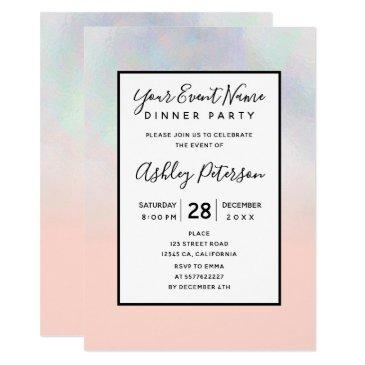modern pearl nacre ombre blush pink holographic invitation