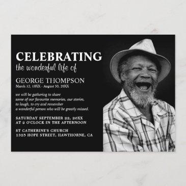 modern photo celebration of life funeral memorial invitation